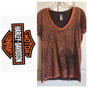 Harley Davidson Sz L Vneck Orange Black Tshirt